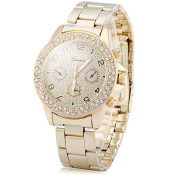 Geneva Diamond Decorative Sub-dials Quartz Watch Stainless Steel Band for Women