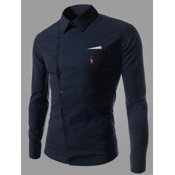 Novel Turn-down Collar Inclined Button Fly Slimming Deer Embroidery Long Sleeves Men's Shirt - DEEP BLUE M