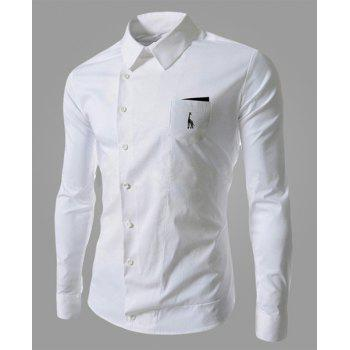 Novel Turn-down Collar Inclined Button Fly Slimming Deer Embroidery Long Sleeves Men's Shirt - WHITE WHITE