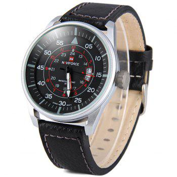 Naviforce 9044 Water Resistant Male Military Japan Quartz Watch Date Display -  BROWN