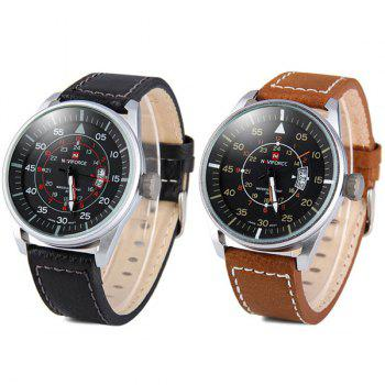 Naviforce 9044 Water Resistant Male Military Japan Movement Quartz Watch Date Display -  BROWN