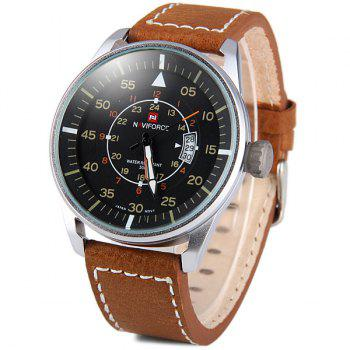 Naviforce 9044 Water Resistant Male Military Japan Movement Quartz Watch Date Display - BROWN BROWN