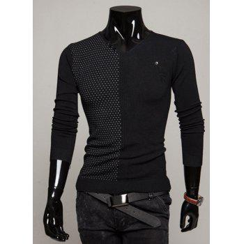 Fashion Dots Print Buttons Embellished V-Neck Long Sleeve Slimming Men's Polyester Sweater - BLACK BLACK