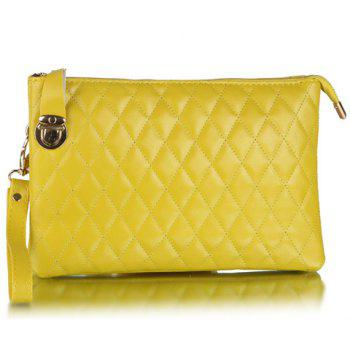 Fashionable Zipper and Hasp Design Clutch Bag For Women - YELLOW YELLOW
