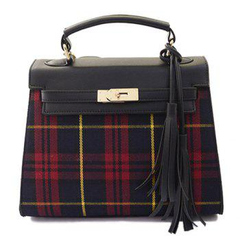 Fashionable Checked and Tassels Design Tote Bag For Women