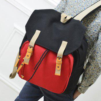 Casual Buckles and Color Block Design Backpack For Men -  BLACK