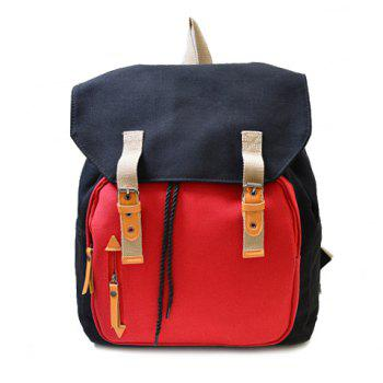 Casual Buckles and Color Block Design Backpack For Men - BLACK BLACK