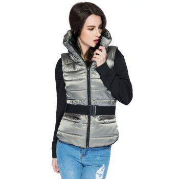 Funnel Collar Quilted Waistcoat - GRAY GRAY