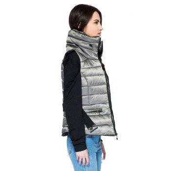 Funnel Collar Quilted Waistcoat - GRAY L