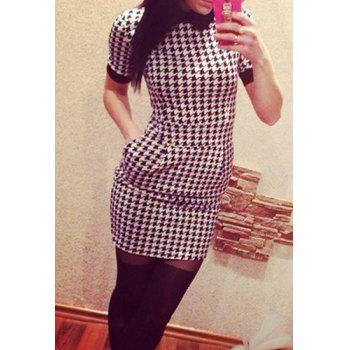 Simpel Flat Collar Short Sleeve Houndstooth Spliced Women's Dress