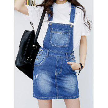 Preppy Style Bleach Wash Solid Color Denim Overalls For Women