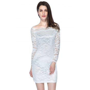 Long Sleeve Bodycon Lace Pencil Dress - WHITE XL