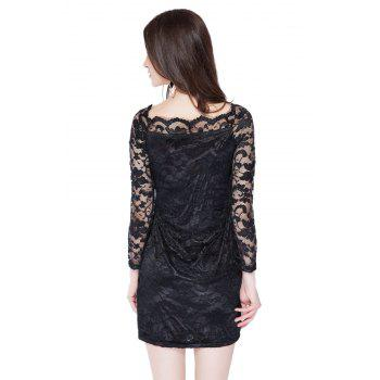 Long Sleeve Bodycon Lace Pencil Dress - BLACK XL