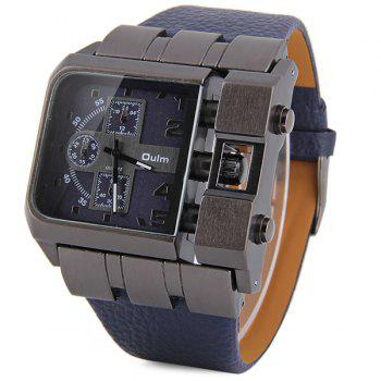Oulm 3364 Male Quartz Watch with Square Dial Leather Watchband - NAVY BLUE NAVY BLUE