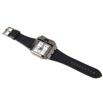 Oulm 3364 Male Quartz Watch with Square Dial Leather Watchband -  NAVY BLUE
