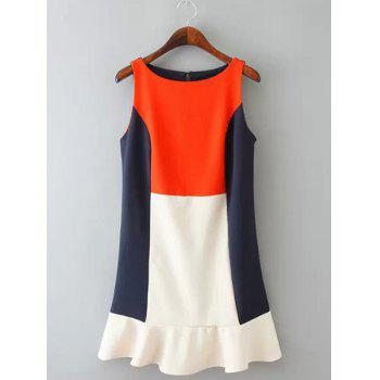 Jewel Neck Color Block Splicing Fashionable Sleeveless Dress Women