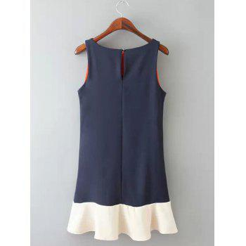 Jewel Neck Color Block Splicing Fashionable Sleeveless Dress For Women - PURPLISH BLUE S
