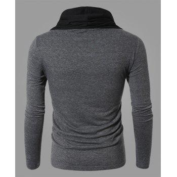 Fashion Color Block Personality Heaps Collar Slimming Long Sleeves Men's Cotton Blend T-Shirt - GRAY GRAY