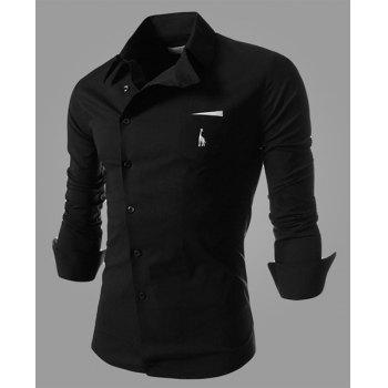 Novel Turn-down Collar Inclined Button Fly Slimming Deer Embroidery Long Sleeves Men's Shirt - BLACK BLACK
