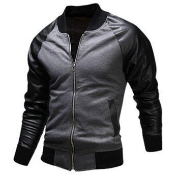 Fashion Pocket Design Fabric Splicing Stand Collar Long Sleeve Slimming Men's Polyester Jacket - GRAY 2XL