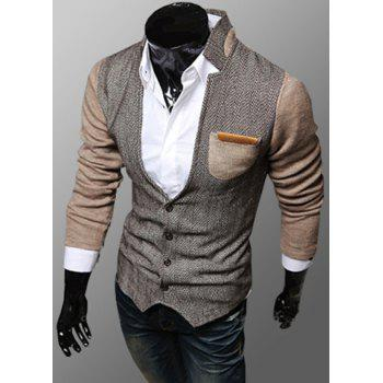 Trendy PU Leather Embellished Pocket Stand Collar Slimming Fabric Splicing Long Sleeves Men's Coat - KHAKI KHAKI