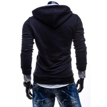 Fashion Color Block Zipper Design Hooded Long Sleeve Thicken Slimming Men's Polyester Hoodie - CADETBLUE L