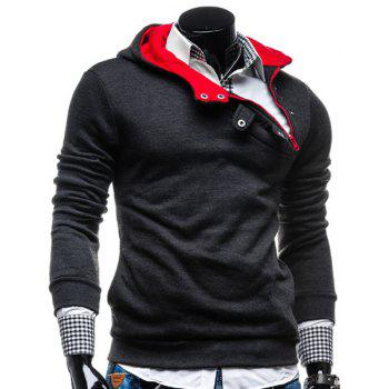 Fashion Color Block Zipper Design Hooded Long Sleeve Thicken Slimming Men's Polyester Hoodie - DEEP GRAY DEEP GRAY