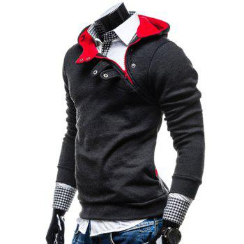 Fashion Color Block Zipper Design Hooded Long Sleeve Thicken Slimming Men's Polyester Hoodie - DEEP GRAY 3XL