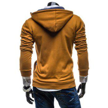 Fashion Color Block Zipper Design Hooded Long Sleeve Thicken Slimming Men's Polyester Hoodie - CAMEL M