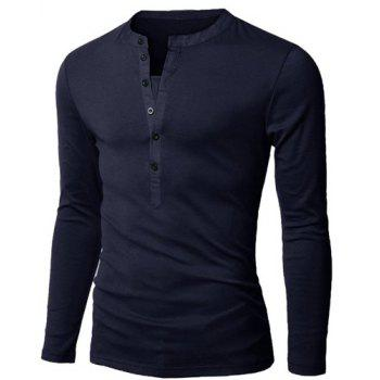 Fashion Button Design Fabric Splicing V-Neck Long Sleeve Slimming Men's Polyester Polo Shirt - CADETBLUE L