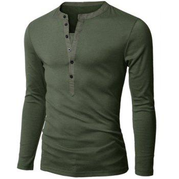 Fashion Button Design Fabric Splicing V-Neck Long Sleeve Slimming Men's Polyester Polo Shirt - ARMY GREEN ARMY GREEN