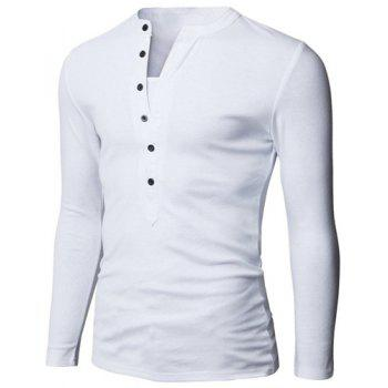 Fashion Button Design Fabric Splicing V-Neck Long Sleeve Slimming Men's Polyester Polo Shirt - WHITE WHITE