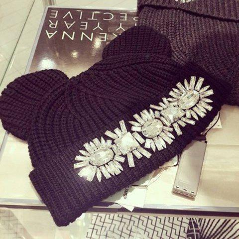 Cute Cartoon Mouse Ear Shape and Rhinestone Design Women's Knitted Beanie - BLACK