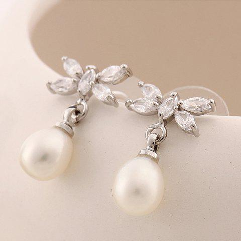 Pair of Chic Stylish Women's Rhinestone Faux Pearl Leaves Design Earrings