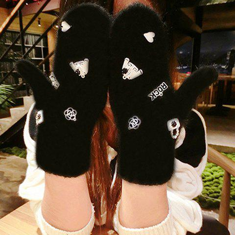 Pair of Chic Mixed Labelling Embellished Women's Gloves - BLACK