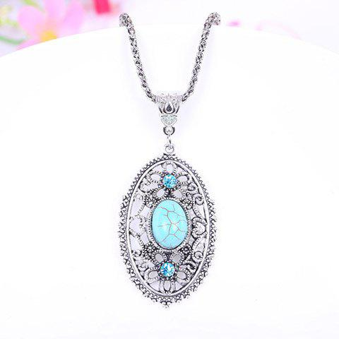 Retro Women's Turquoise Rhinestone Ellipse Pendant Necklace