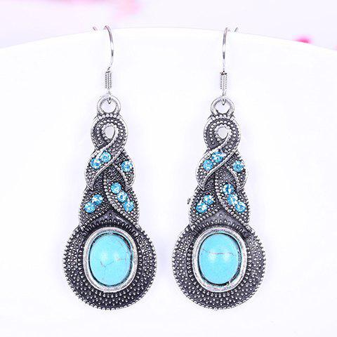 Pair of Diamante Calabash Pendant Earrings - LAKE BLUE
