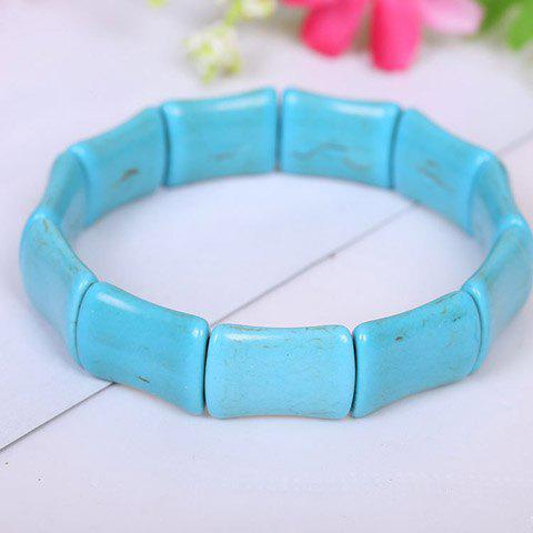Chic Women's Solid Color Square Beads Bracelet - LAKE BLUE