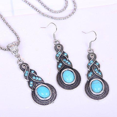 A Suit of Stylish Chic Women's Rhinestone Turquoise Necklace And Earrings - WATER BLUE