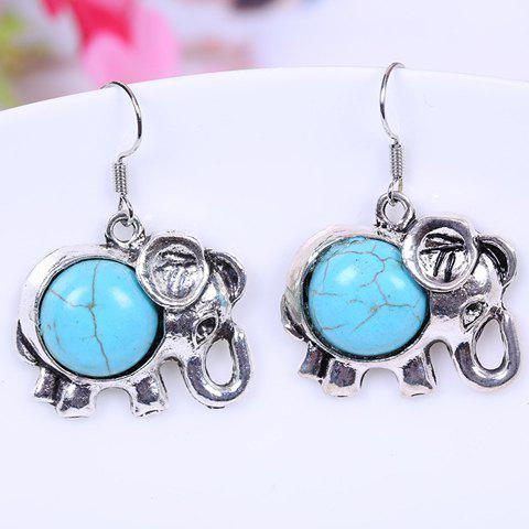 Pair of Faux Turquoise Elephant Design Drop Earrings - WATER BLUE