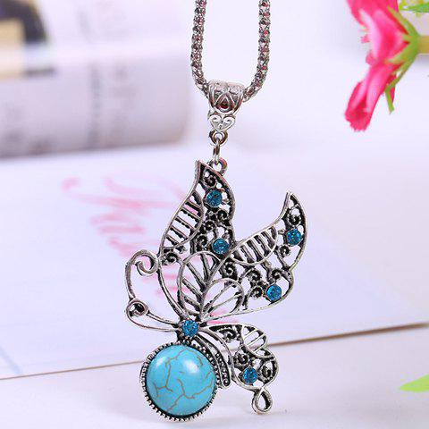 Chic Retro Women's Turquoise Rhinestone Openwork Butterfly Pendant Necklace - LAKE BLUE