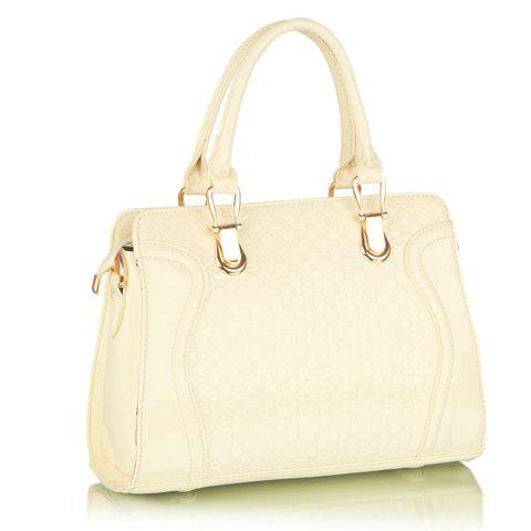 Fashionable Patent Leather and Embossing Design Tote Bag For Women - OFF WHITE