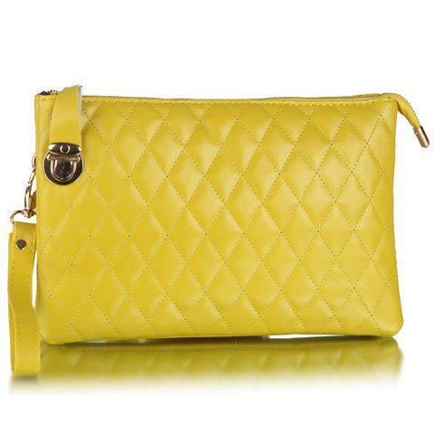 Fashionable Zipper and Hasp Design Clutch Bag For Women - YELLOW