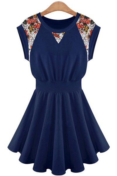 Ladylike Style Jewel Neck Floral Print Lace Splicing A-Line Women's Dress - CADETBLUE XL
