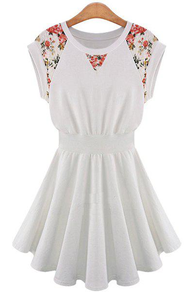 Ladylike Style Jewel Neck Floral Print Lace Splicing A-Line Women's Dress - OFF WHITE XL