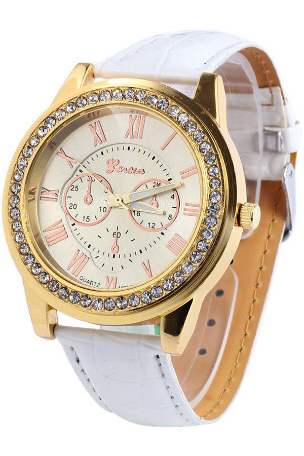 Vintage Roman Numeral Rhinestoned Watch For Women - WHITE
