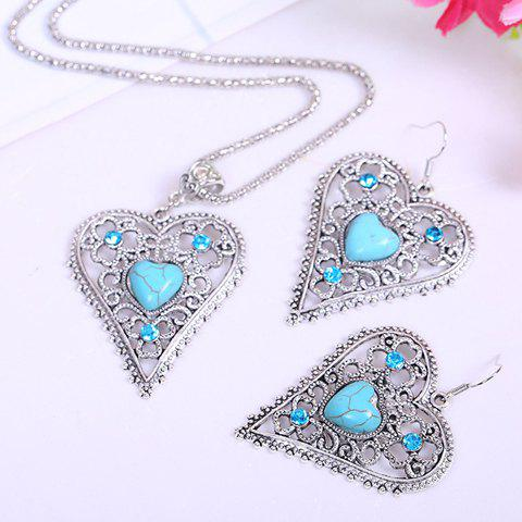 Chic Kallaite Decorated Openwork Heart Pendant Necklace and A Pair of Earrings For Women chic tassels decorated triangle pendant double layer necklace for women