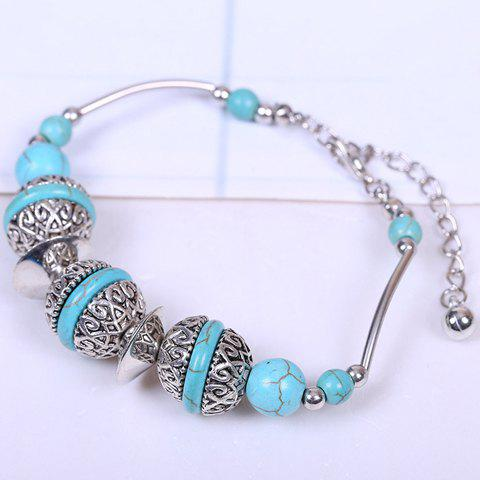 Beads Faux Turquoise Bracelet - SILVER/BLUE