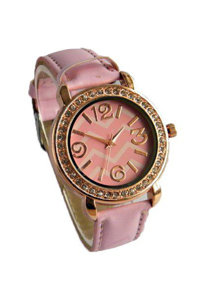 Cute Wave Pattern Rhinestoned Watch For Women - PINK