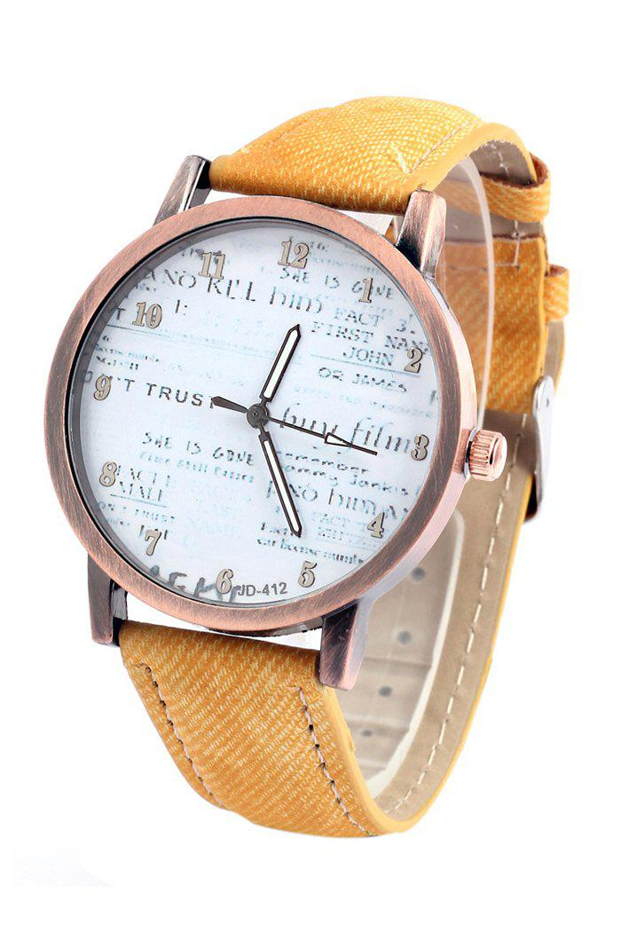 Chic Letter Print Denim Strap Watch For Women - YELLOW